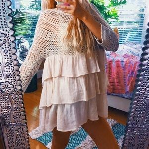 anthropologie entro babydoll tiered sweater